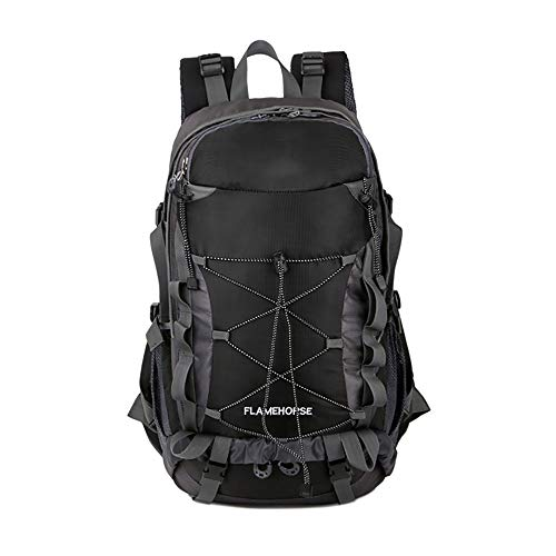 HS-LAMP MH-RING Hiking Backpack Waterproof, 35 Liter Lightweight and Breathable Camping Daypack for Outdoor Camping Riding Traveling (Color : Black)