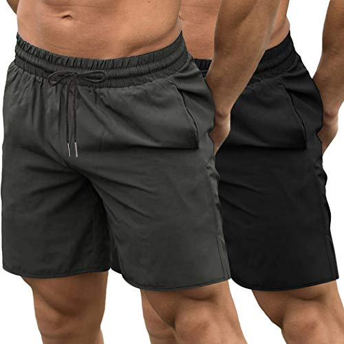 COOFANDY Men's 2 Pack Gym Workout Shorts Quick Dry Bodybuilding Weightlifting Pants Training Running Jogger with Pockets (Black/Dark Grey, Small)
