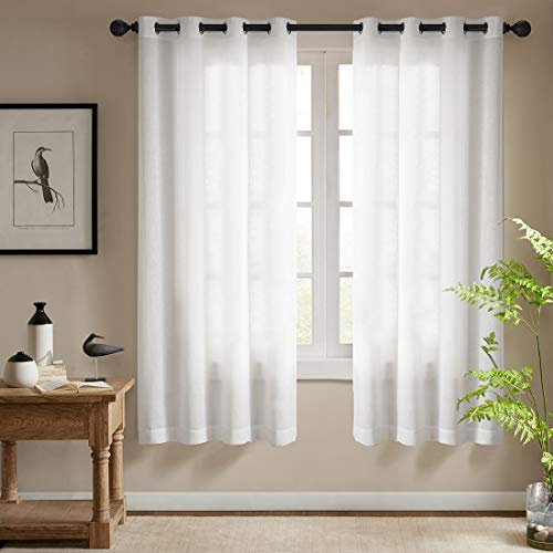 jinchan White Sheer Curtains for Bedroom Casual Weave Wide Width Linen Look Privacy Semi Sheer White Curtains for Living Room, 1 Pair 72""