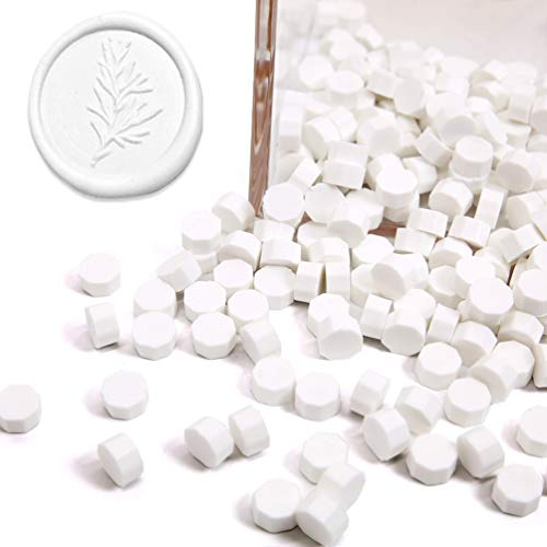 UNIQOOO Arts & Crafts 180 Pcs Snow White Box Sealing Wax Beads Nuggets for Wax Seal Stamp, Great for Embellishment of Cards Envelopes, Wedding Invitations, Wine Packages, Gift Wrapping
