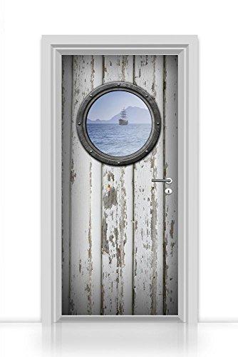 codiarts. Türtapete selbstklebende Folie einteilig (großes Bullauge alte Tür weiß Schiff auf See) Aufkleber Sticker 93x205cm (Druchmesser Bullauge, 65cm)