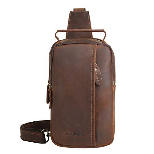 Leathario Bolso Pecho Hombro Bandolera Cruzado Cuero Guenino Vintage de Trabajo para Hombres Mochila Pecho Piel Grande para Viaje Crossbody Sling Bag