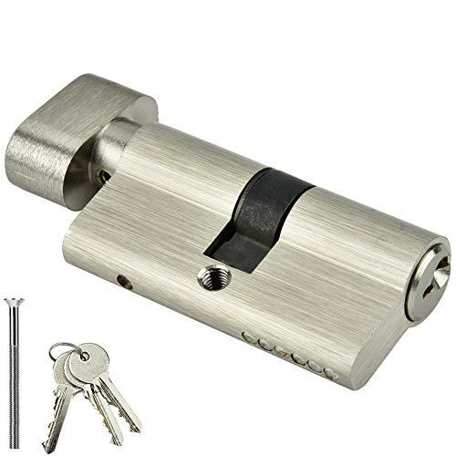 Cerradura de cilindro con llaves, Cerradura de apertura simple de cobre - Cosa importante segura, Cerradura de cilindro de acero inoxidable Puerta del dormitorio (60mm)