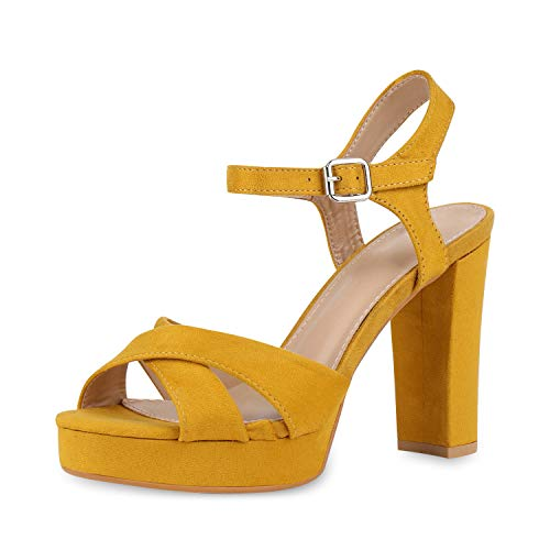 SCARPE VITA Damen Pumps Plateau Sandaletten Party Schuhe Blockabsatz High Heels Wildleder-Optik Absatzschuhe Riemchensandaletten 181971 Gelb Yellow 39