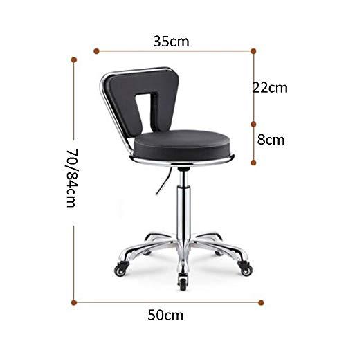 NAN liang Chaise de bureau pivotante réglable avec repose-pieds pivotant réglable noir avec chaise et tabouret rond de dossier, H17.6-33.1inches (Couleur : Orange)