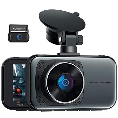 4K Dual Dashcam Vorne und Hinten, 3 Zoll IPS Autokamera mit Hardwire-Kit für 24/7 Parkmodus, Dash Cam mit Hitzebeständig Superkondensator, Infrarot Nachtsicht WDR, G Sensor Loop-Intervall, Max. 256GB