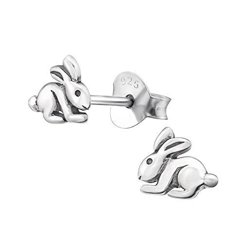 Laimons Mädchen Kids Kinder-Ohrstecker Ohrringe Kinderschmuck Hase Häschen Kaninchen Tier süß oxidiert glanz aus Sterling Silber 925