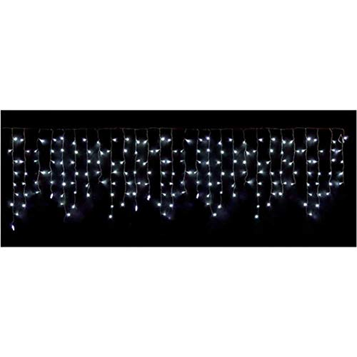 We Love Christmas Tenda Luminosa Stalattiti 180 LED Bianco Ghiaccio con Giochi di Luce Filo Trasparente 420x50cm
