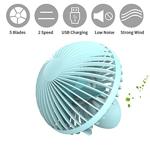 YYYUE USB Mini Desktop Fan, Small Mushroom-Shaped Office Home Silent Fan, Creative Home, The Best Gift in Summer,Blue