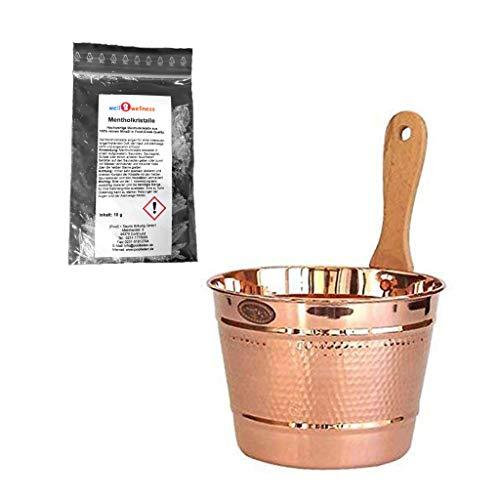 SudoreWell® Saunakübel/Saunaeimer aus Kupfer mit Holzgriff + gratis Mentholkristalle
