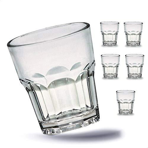Kerafactum 6 x Bruchfeste Gläser Becher langlebige Wassergläser aus stabilem Kunststoff Saft Whisky Glas Partybecher Whiskybecher Trinkbecher in echter Glasoptik - stapelbar