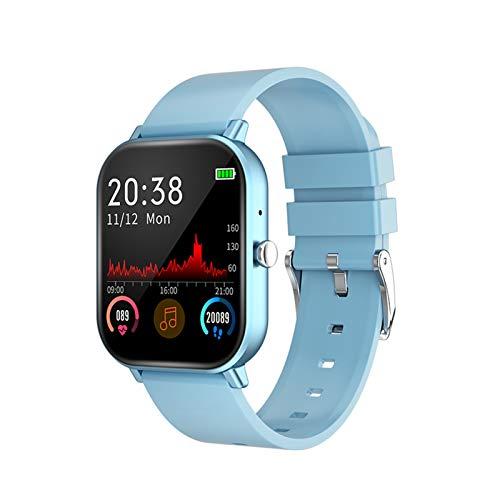 LYB Reloj inteligente inalámbrico Bluetooth HD llamada pantalla táctil a color pulsera inteligente ritmo cardíaco monitor de presión arterial pulsera deportiva (color: 03 azul)