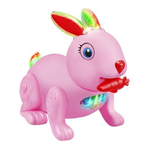 TOYMYTOY Conejito Electrónico Juguete Conejo de Pascua Interactivo Alimentación de Mascotas Electrónica Zanahoria Juguete Musical con Luz para Niños Baby Shower Cumpleaños Regalo de Pascua