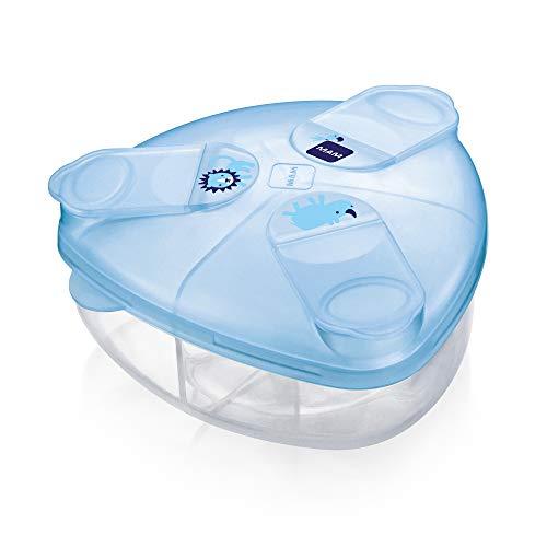 MAM Milchpulverspender, Milchpulver Box zum einfachen Befüllen von Babyflaschen, Milchpulverportionierer fasst bis zu 3 Portionen, 0+ Monate, blau