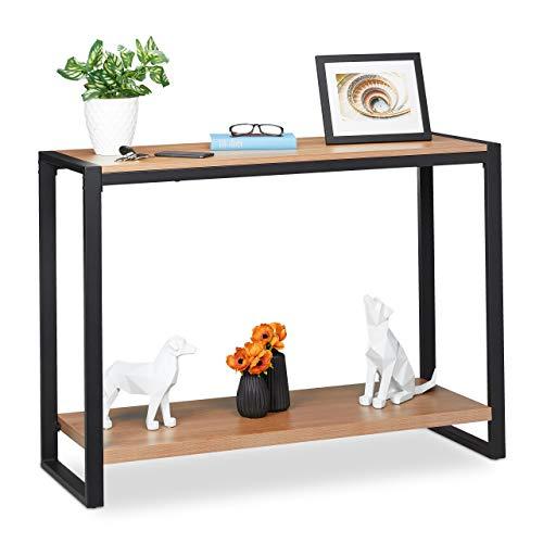 Relaxdays Konsolentisch, schmaler Flurtisch mit 2 Ablagen, Wohnzimmer, Küche & Flur, HBT 80 x 110 x 40 cm, braun/schwarz