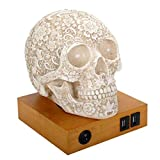 Summit Collection Floral Skull Home Decor LED Lamp with Two USB Charging Ports, White,