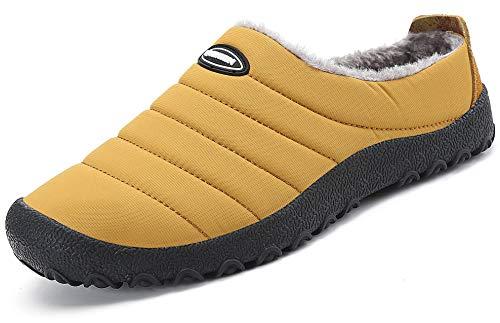 Zapatillas de Estar por Casa Mujer Hombre, Invierno Zapatos de Casa con Forro de Piel - Cálidas y Cómodas - con Suela Antideslizante para Exterior e Interior,Amarillo 44