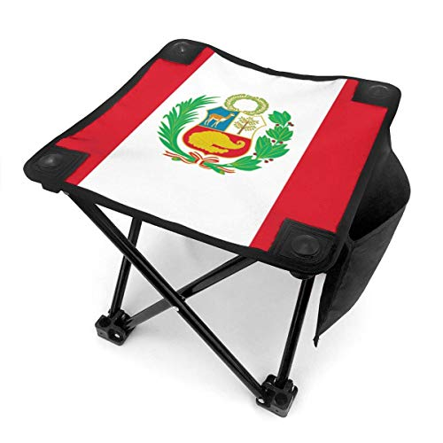 liang4268 Camping Hocker Flag of Peru Lightweight Folding Camping Stool Portable Fishing Camp Chair