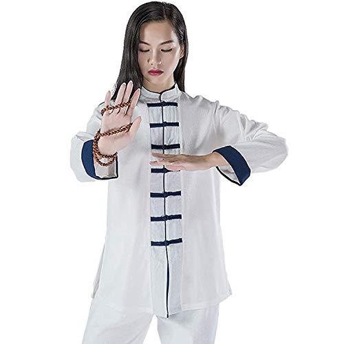 Ropa De Artes Marciales para Mujer, Traje De Tai Chi, Uniforme Tradicional Chino De Kung Fu, Algodn, Wing Chun, Ropa De Meditacin Zen, Traje De YogaWhite-Small