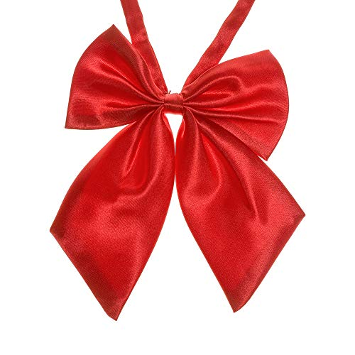 Ladies Adjustable Pre tied Bowtie - Solid Color Bow Ties for Women (Hot red