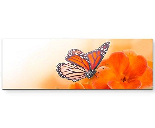 Eau Zone Wandbild auf Leinwand 120x40cm orangene Blumen mit Schmetterlingen