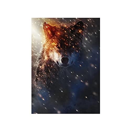 HANSHUO Animal Lobo impresión en Lienzo Adolescente hogar Estar Dormitorio decoración Lienzo póster Pintura Cuadro Pared Arte impresión (60x80 cm) sin Marco