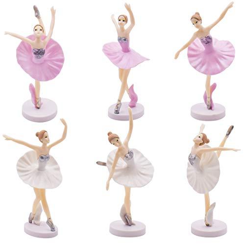 Adorno De Torta De Cumpleaños - YUESEN 6 Piezas Bailarina Bailarina de Ballet Estatua estatuillas Adornos Adornos de Pastel Fiesta de cumpleaños de Navidad favorece Regalos para Bailarin