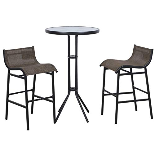 Outsunny 3 Piece Bar Height Outdoor Patio Pub Bistro Table Chairs Set with...