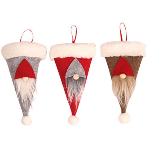 Mankoo 3PCS Cubierta de Cubiertos Soporte de Plato Soporte de Plato de Santa Cubierta de Tenedor Decoración de Mesa de Comedor para Fiesta de Navidad