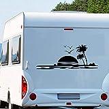 Pegatina Promotion Schöner Sonnenuntergang ca 150cm breit im Meer mit Palmen Strand Beach Möwen Vögeln Wohnmobil Wohnwagen Aufkleber Womi Wowa
