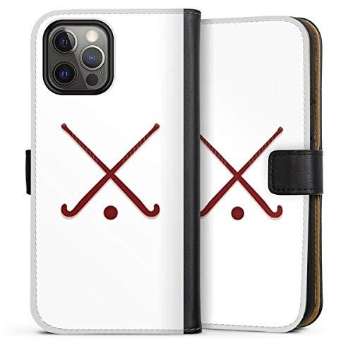 DeinDesign Klapphülle kompatibel mit Apple iPhone 12 Pro Max Handyhülle aus Leder schwarz Flip Case Hockey Hobby Sport