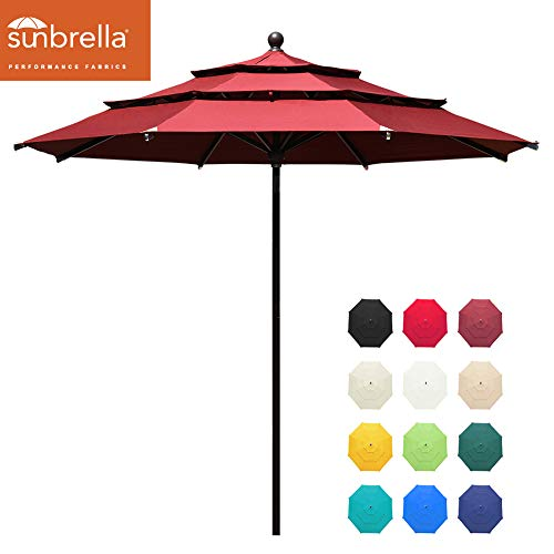 EliteShade Sunbrella 11ft 3 Tiers Market Umbrella Patio Outdoor Table Umbrella with Ventilation and 5 Years Non-Fading Top,Burgundy