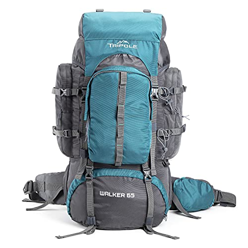 Tripole Walker 65 Litres Rucksack   Internal Frame with Metal Rod   Rain Cover   Bottom Opening   Laptop Section (Sea Green)