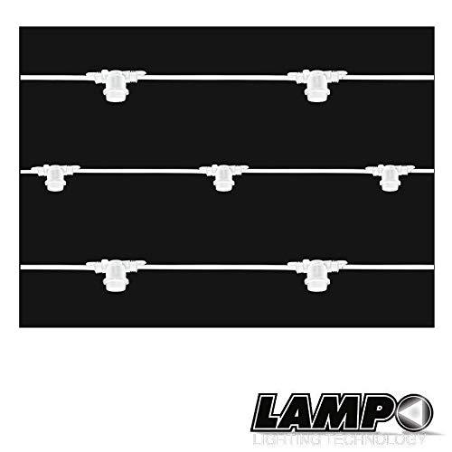 Lampo - Cadena luminosa con 11 portalámparas E27, 12,5 metros, IP65, uso exterior, extensible, impermeable