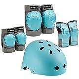 wildya Kids Bike Helmet, Toddler Helmet Adjustable for Kids Youth Adult, Knee Pads Elbow Pads Wrist Guards Kids Protective Gear Set for Skateboard, Bike, Roller Skating, Cycling, Rollerblade (blue, S)
