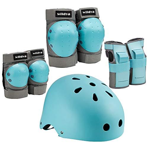 wildya Kinder fahrradhelm, Kleinkindhelm verstellbar für Kinder/Jugendliche/Erwachsene, Knieschoner, ellenbogenschoner, handgelenkschutz, Kinder schutzausrüstung Set für Skateboard (Blue, M)