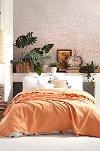 BOHORIA® Premium Tagesdecke Colors of Morocco - Bettüberwurf Wohndecke Wendedecke Kuscheldecke Sofadecke mit Tasseln | extra-groß 220 x 240 cm (Orange)