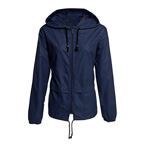 Mxssi Damen Männer wasserdichte Bomber Jacken Mode Solide Kausalen Reißverschluss Grundlegende Jacke Regen Mäntel Hoody Windbreaker Marineblau M-Damen
