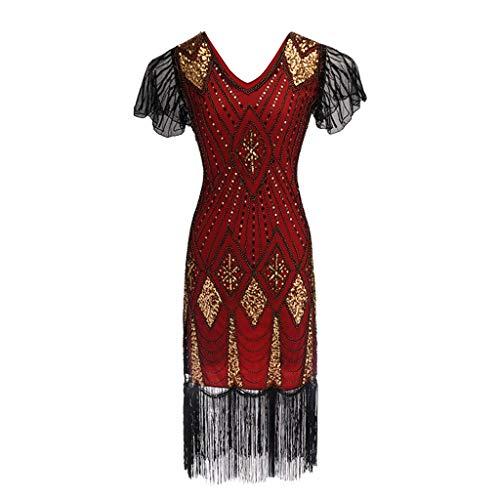 Auifor 1920 Vestido de Lentejuelas de la Mujer Inspirado Lentejuelas Cuentas Borla Larga Vestido de Inserciones(Rojo/Medium)