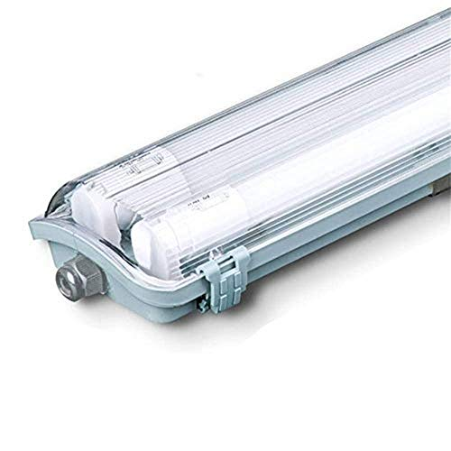 Plafoniera Tubi LED 2X18W, Bianco Freddo 6400K Tubi Inclusi Ip65 120Cm