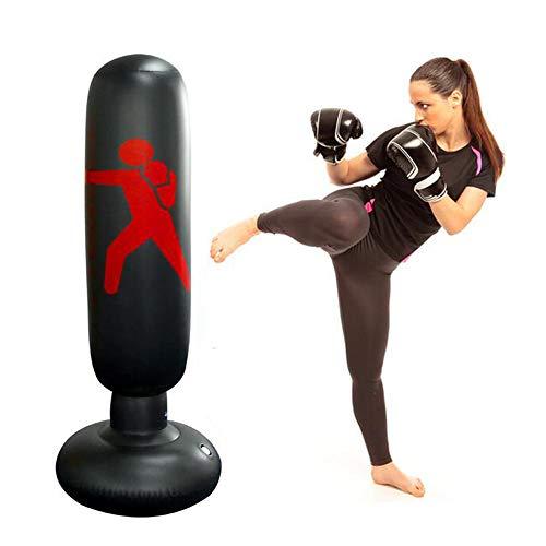 Life HS Inflable Niños Saco-Free Standing Bolsa de Boxeo, Bolsa de Boxeo Inflable para Adultos y niños, Gimnasio de Boxeo Juguete Negro Bolsa de Boxeo de Alto 5.2Ft