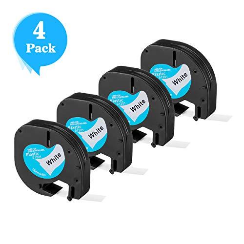QX50 2 Nastri per Etichette Plastica compatibili per Dymo LetraTag 12267 S0721530 S0721550 Nero su Trasparente 12mm x 4m per LetraTag LT110T LT100T XR LT100H