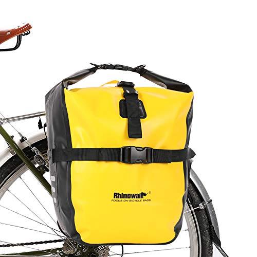 Rhinowalk Fahrradtasche 20L TPU Wasserdichtes Fahrrad Gepäcktaschen Reißfest Rücksitz Gepäckträger Tasche MTB Fahrrad Satteltaschen Gelb