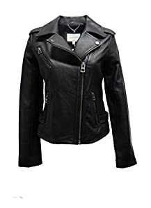 Lucky Brand Moto Leather Jacket-Black-L by