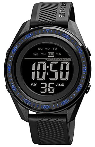 Relojes Deportivos Hombre, Digital Militares Relojes de Pulsera con Semana/LED/Alarma/Cronómetro/Resistente al Agua 50M Reloj Esfera Grandes para Hombre (Negro/Azul)