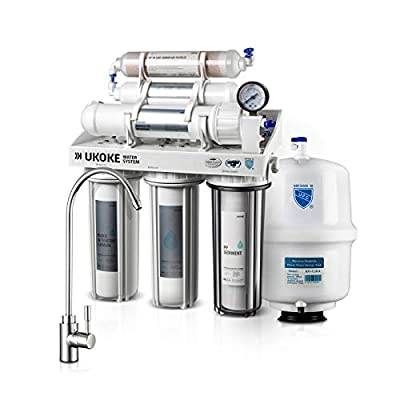 Ukoke RO75G 6 Stages Reverse Osmosis Water Filtration System, Under Sink pH+ Alkaline Remineralizing RO filter & Softener, NSF/ANSI 58 & IAPMO Platinum Seal Certified, 75 Gallon Per Day White