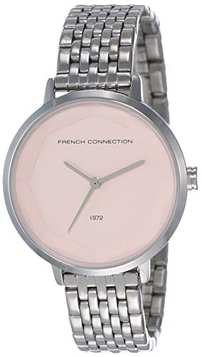 French Connection Damen Datum klassisch Quarz Uhr mit Edelstahl Armband FC1317SM