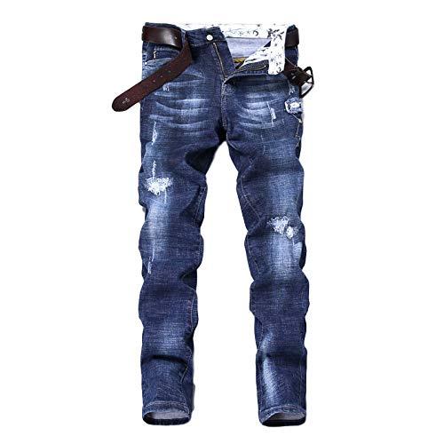 Segindy Pantalones Vaqueros Rectos para Hombre, a la Moda, con Estampado de Personalidad, cómodos,...