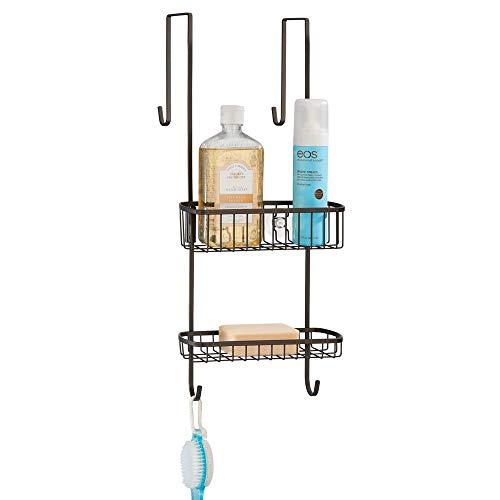 mDesign Duschablage zum Hängen über die Duschtür - praktisches Duschregal ohne Bohren - mit Saugnäpfen - Duschkorb zum Hängen aus rostbeständigem Metall für sämtliches Duschzubehör - bronze