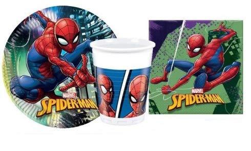 ILS I LOVE SHOPPING Spiderman Team Up Marvel Kit de fête coordonné, set d'anniversaire avec 8 assiettes de 23 cm, 8 verres et 20 serviettes (Spiderman Team Up Marvel, lot de 8 personnes)